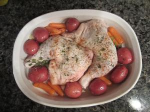 Tuscan roast chicken ready to go in the oven.