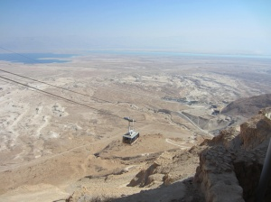 View of the Dead Sea from the cable car up to Masada