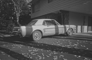 "He bought the car sometime in the 90's.  This was the ""finished product many months later.  Found this picture on an old roll of film....it was so old they could only develop it in B&W!"