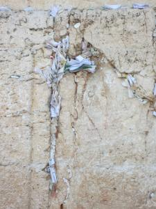 Notes and prayers written and jammed into the cracks on the Wall.