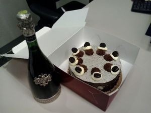 cake and champagne from the Auditors