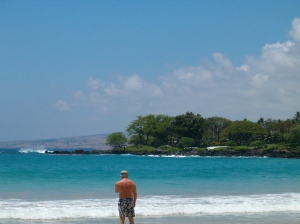 Ken doing what he liked best to do in Hawaii....walking along the beach.