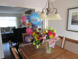 Beautiful flowers and some of the balloons!
