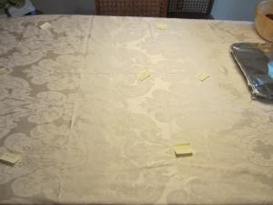 organizing the table.....post it notes with what food went where...came in handy for those helping get the stuff out!
