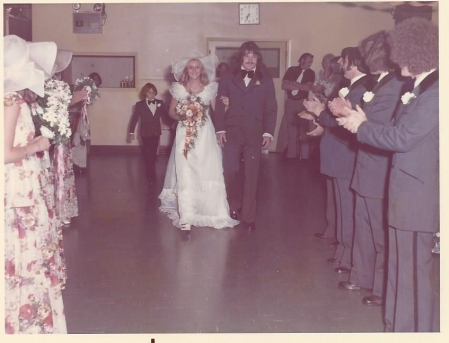Arriving at the reception after pictures....notice the hair and sideburns!
