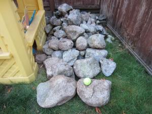 "the future ""rock garden"" moved to the corner.....the tennis ball is to give perspective to the size of some of the ""rocks""!"